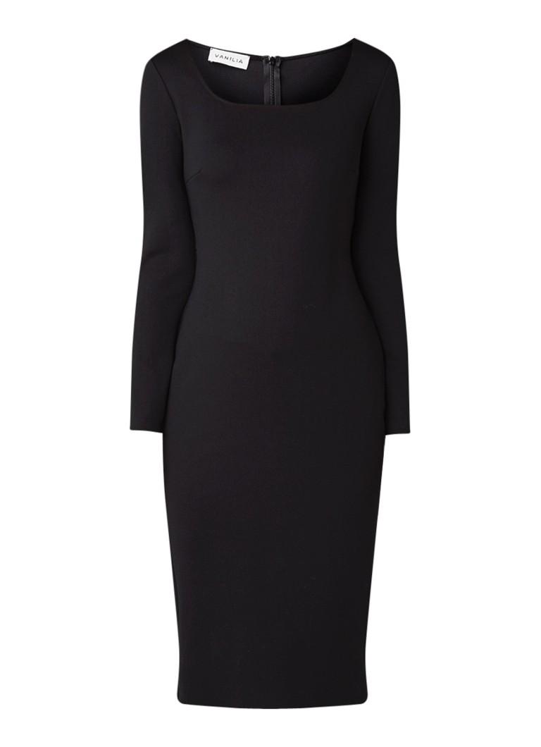 Vanilia Kokerjurk van jersey met vierkante halslijn zwart