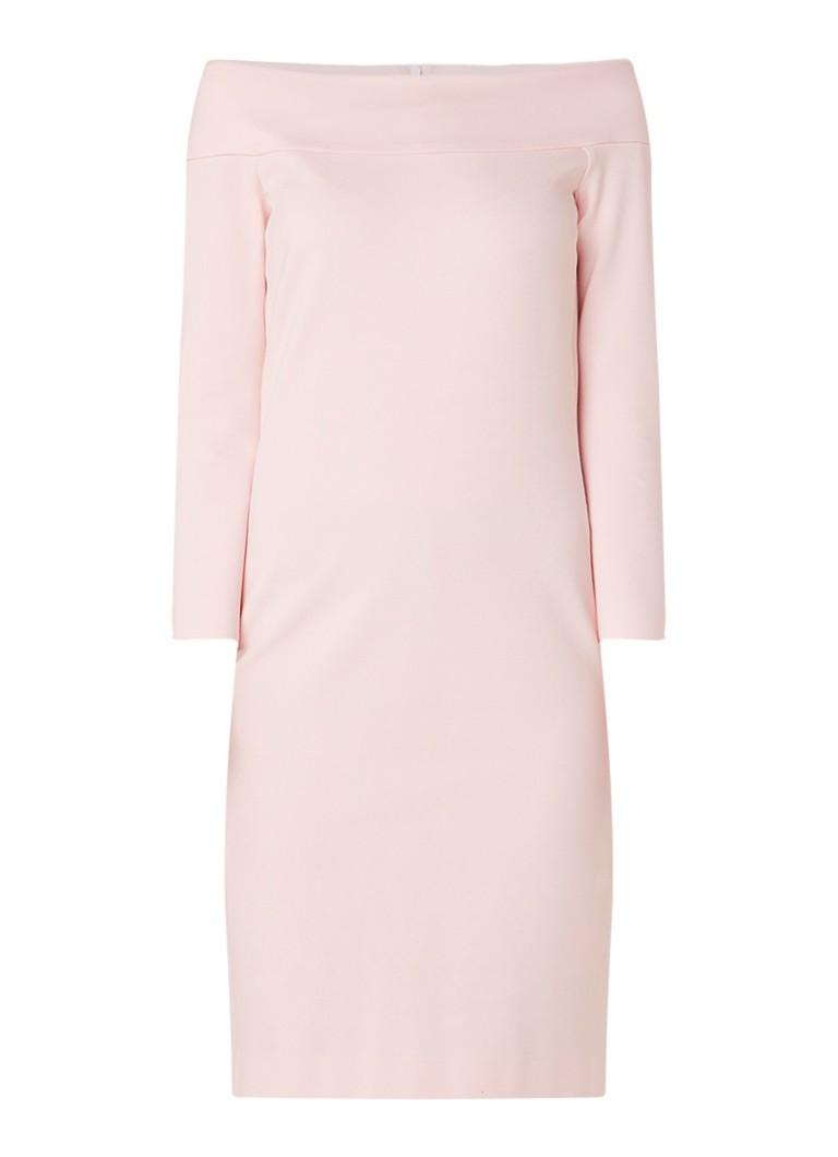 Vanilia Off shoulder midi-jurk met deelnaad lichtroze