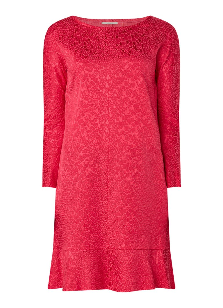 Vanilia A-lijn jurk met schubbendessin donkerroze