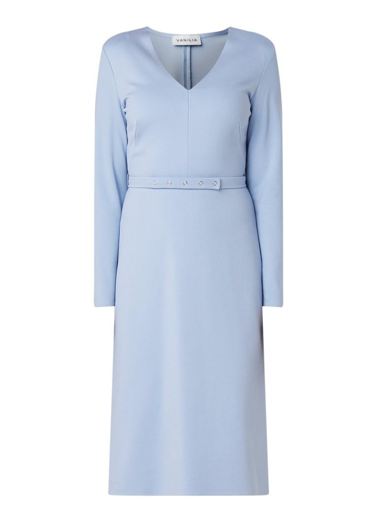 Vanilia Punto A-lijn jurk met ceintuur lichtblauw