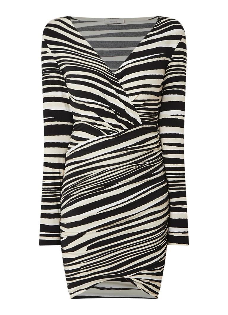 Vanilia Mini-jurk met zebra dessin en gesmockte details zwart