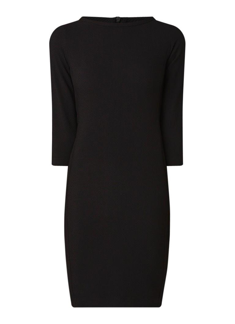 Vanilia Getailleerde midi-jurk met ingeweven structuur zwart