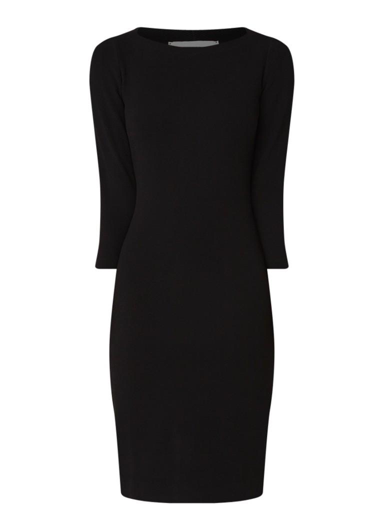 Vanilia Kokerjurk van jersey met structuur zwart