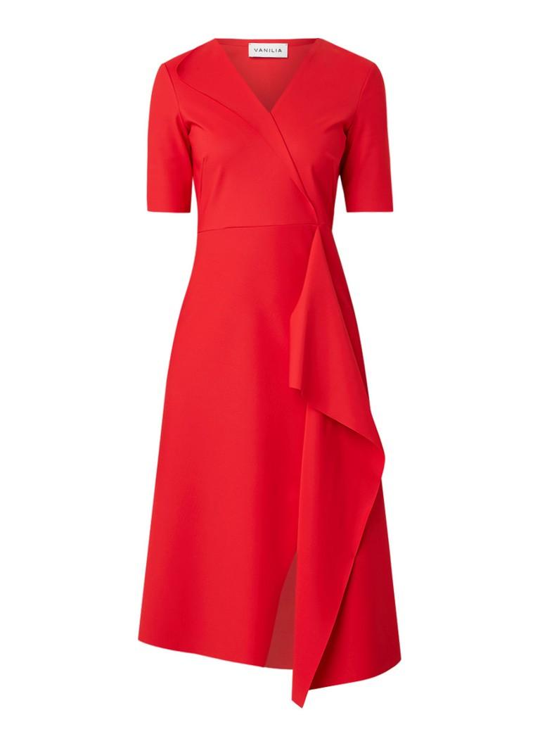 Vanilia Midi-jurk met overslag en V-hals vuurrood