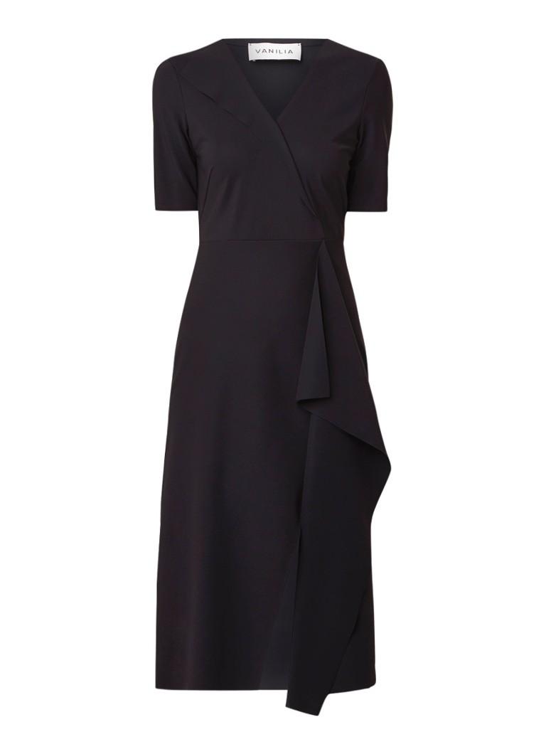 Vanilia Midi-jurk met overslag en V-hals zwart