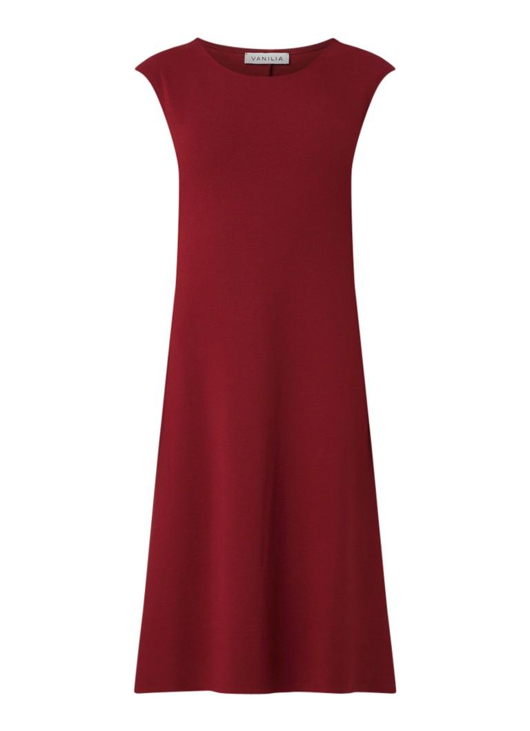 Vanilia Dia midi-jurk met structuur donkerrood