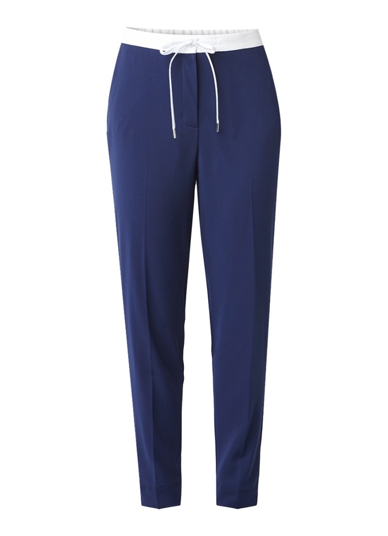 Vanilia Sportieve loose fit pantalon met contrasterende tailleband blauw