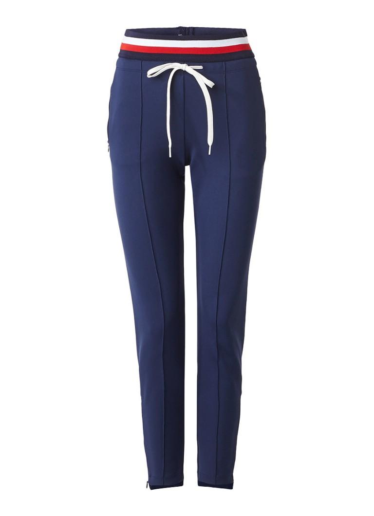 Vanilia Sportieve pantalon met gestreepte tailleband blauw