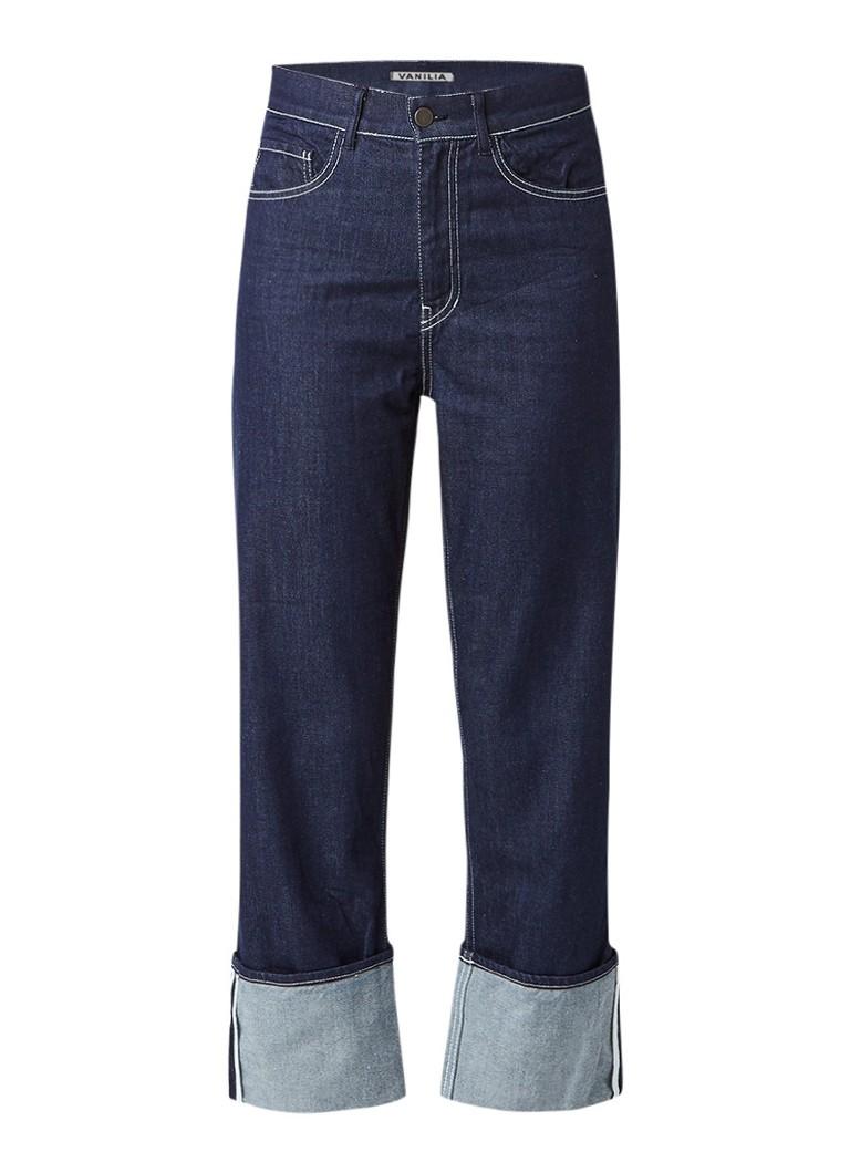 Vanilia High rise flared jeans met ceintuur en doorstiksels