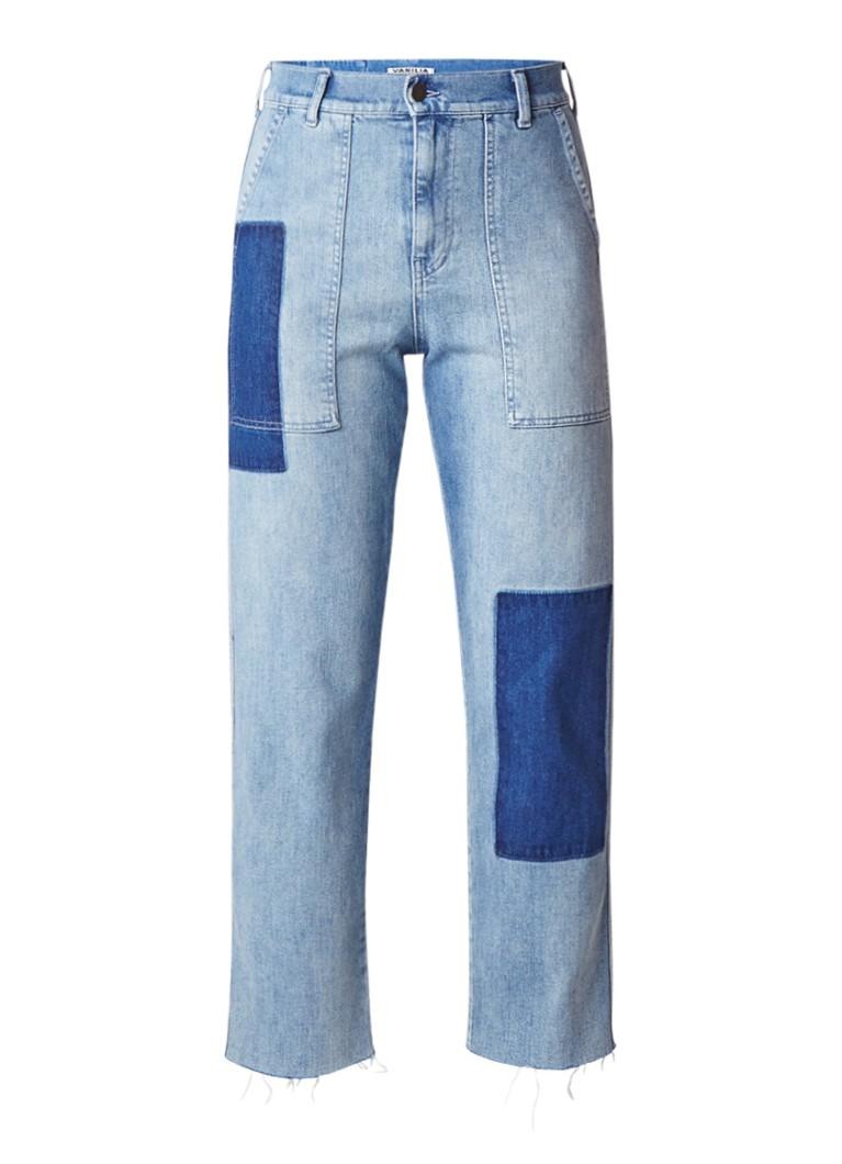 Vanilia Utility worker jeans met patchwork en gerafelde zoom