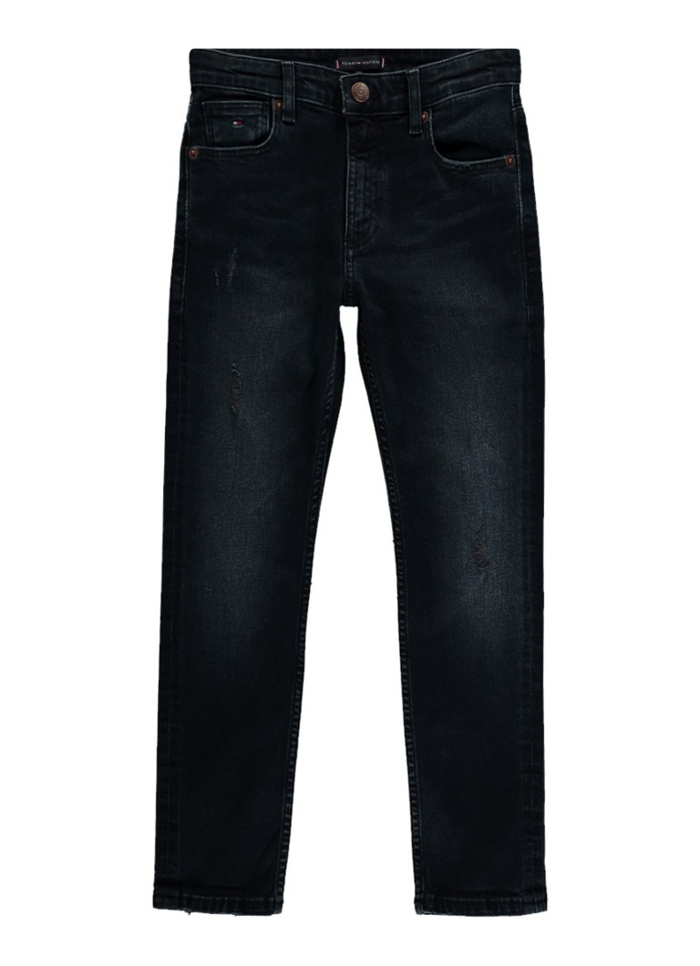 Tommy Hilfiger Slim fit jeans met destroyed look in donkere wassing