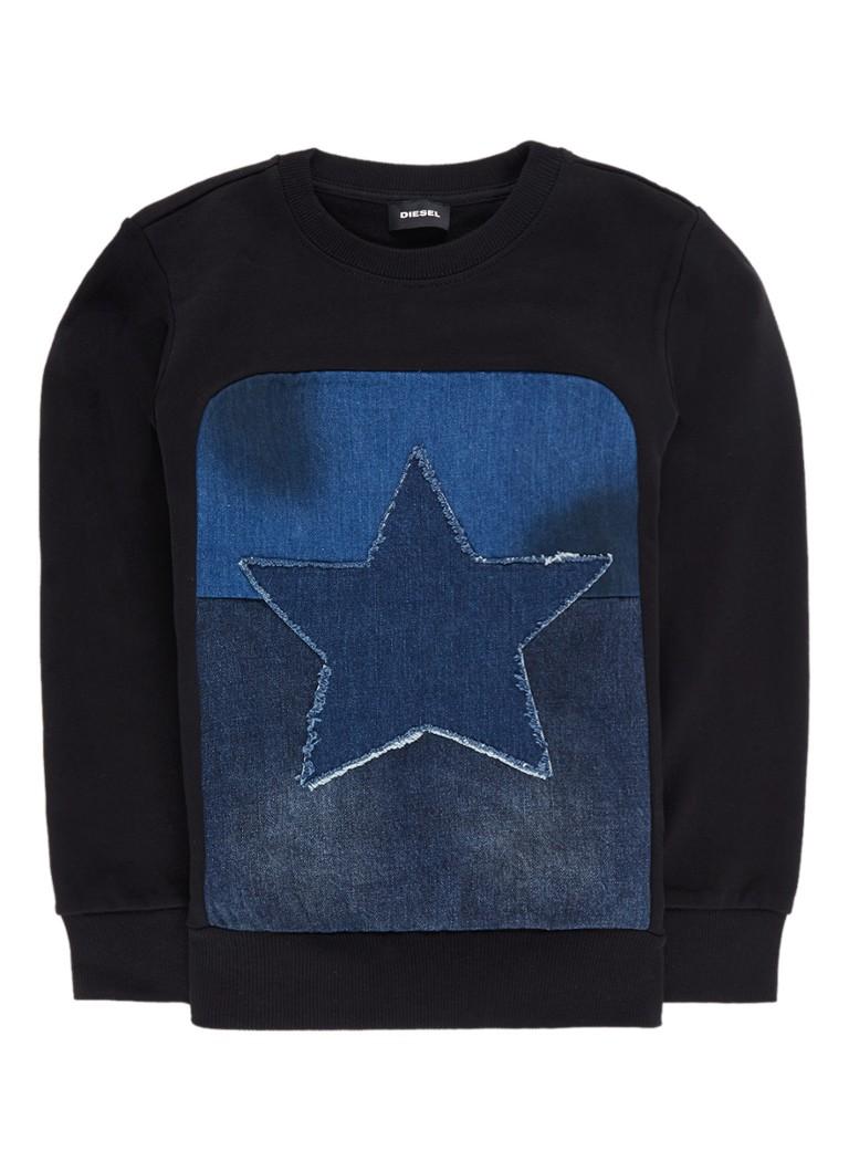 Diesel Sethu sweater met sterapplicatie van denim