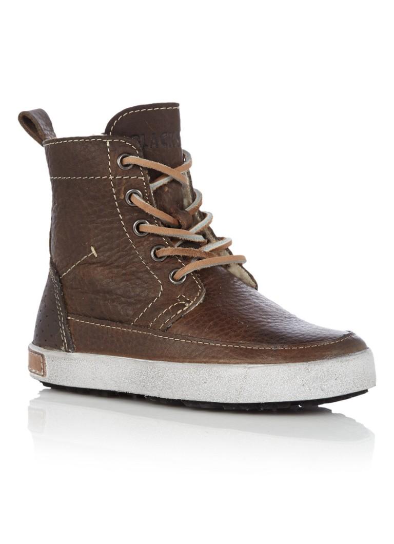 Blackstone Leren bruine sneaker met zachte voering