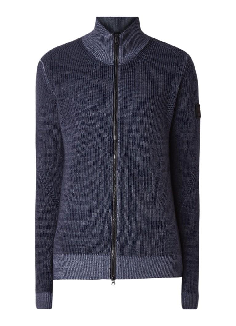 Image of HUGO BOSS Afurly ribgebreid vest van scheerwol