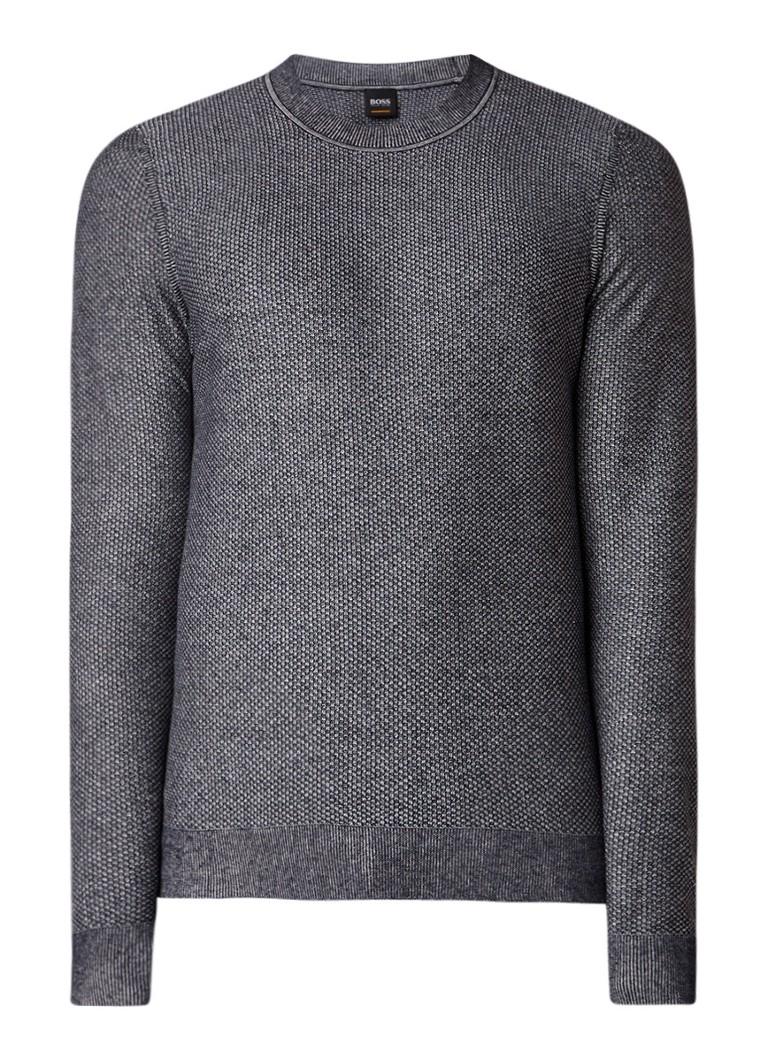 HUGO BOSS Amayuri slim fit pullover in linnen zijdeblend