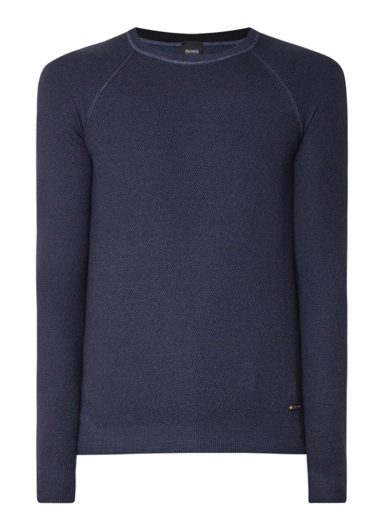 Image of HUGO BOSS Akutisro pullover van wol met structuur