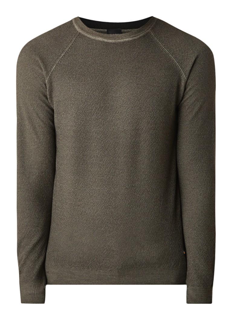 Image of HUGO BOSS Akutisro fijngebreide pullover van scheerwol
