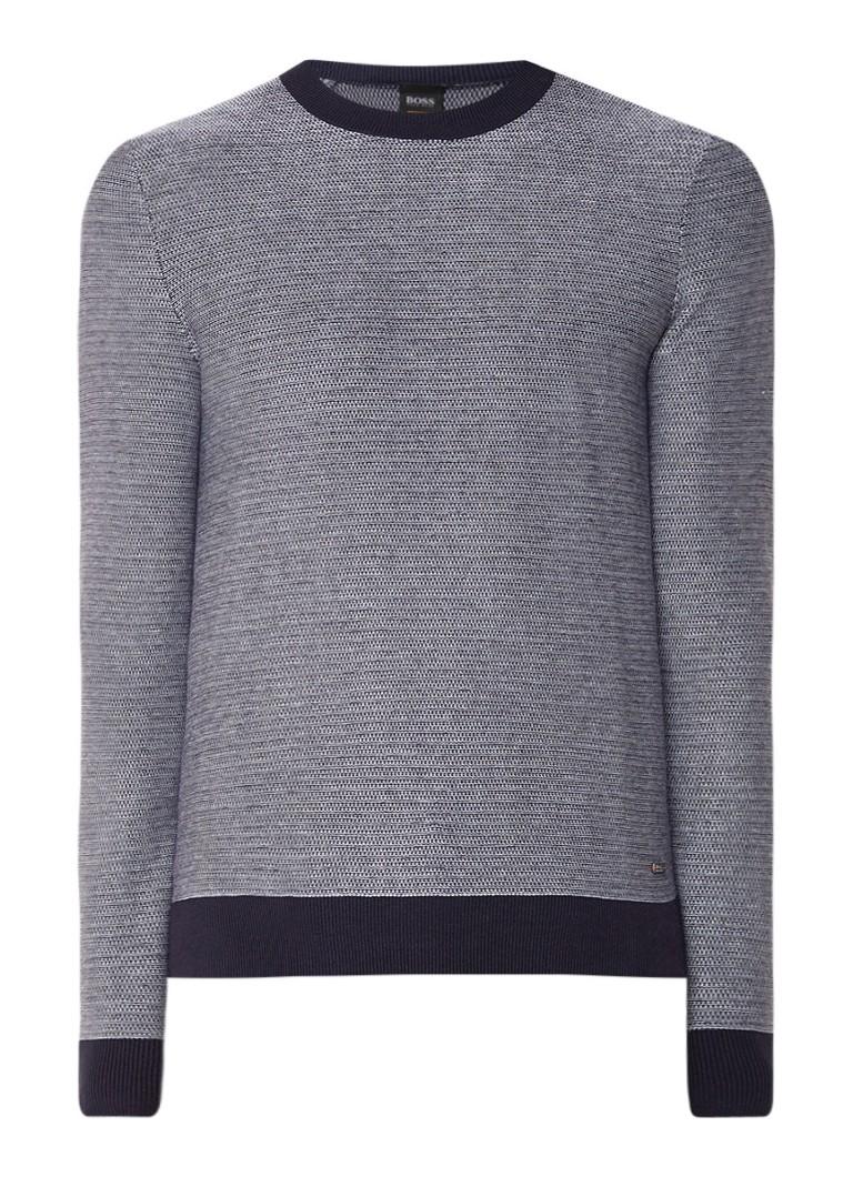 Image of HUGO BOSS Akanice fijngebreide tweekleurige pullover