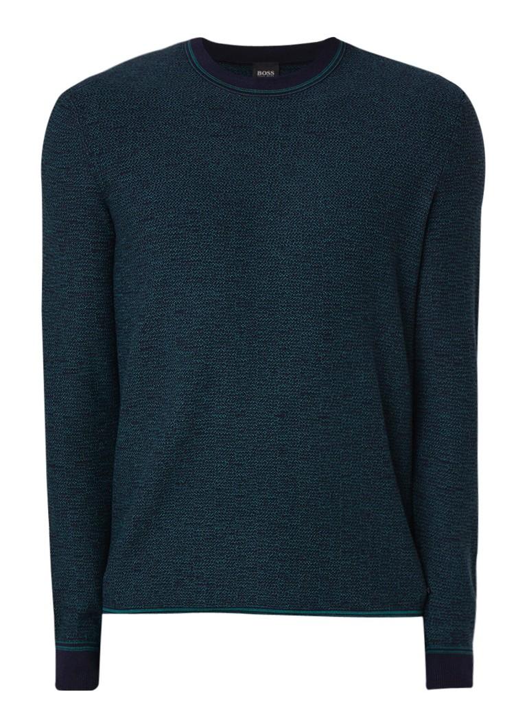 HUGO BOSS Atucki pullover in gemeleerde katoenblend