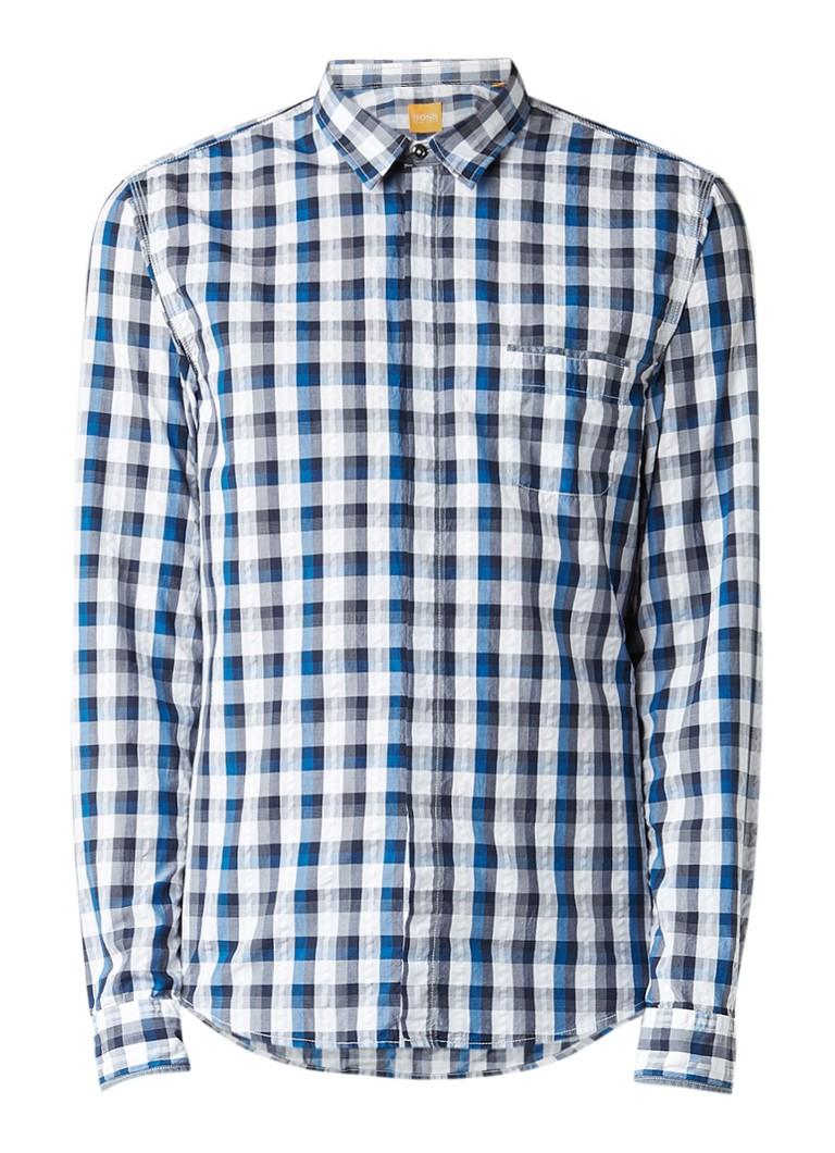 HUGO BOSS Eclash slim fit overhemd met ruit en borstzak