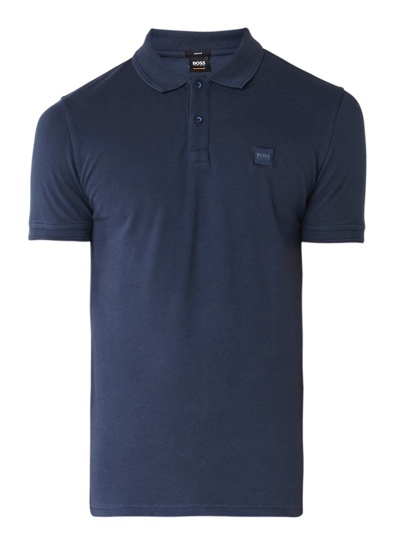 Polo s en T shirts HUGO BOSS Prime slim fit polo met logopatch Donkerblauw