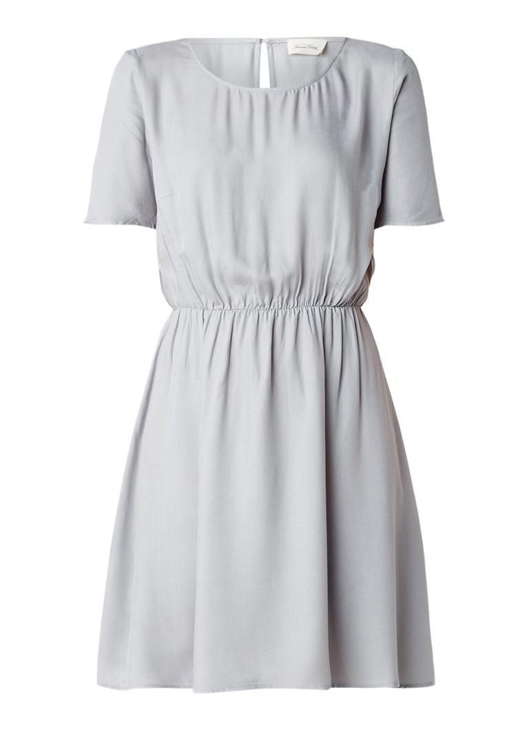American Vintage Lixbridge A-lijn jurk met ronde halslijn en keyhole lichtgrijs