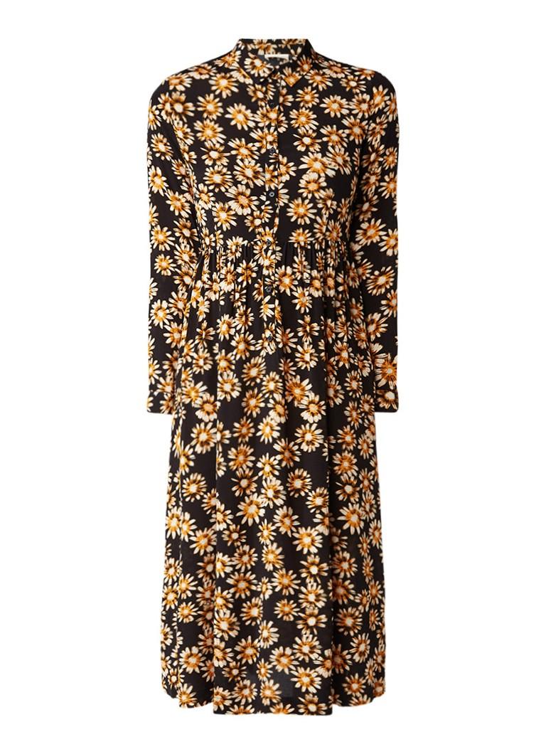 American Vintage Midi blousejurk met gebloemd dessin donkergeel