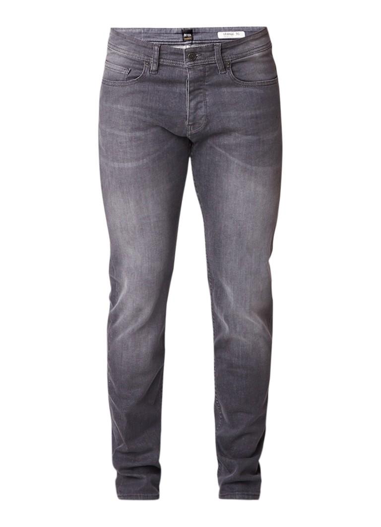 HUGO BOSS Orange90-P tapered fit jeans met faded look