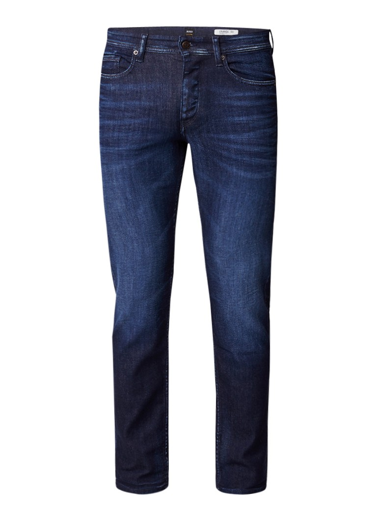 HUGO BOSS Orange90 tapered fit jeans met donkere wassing