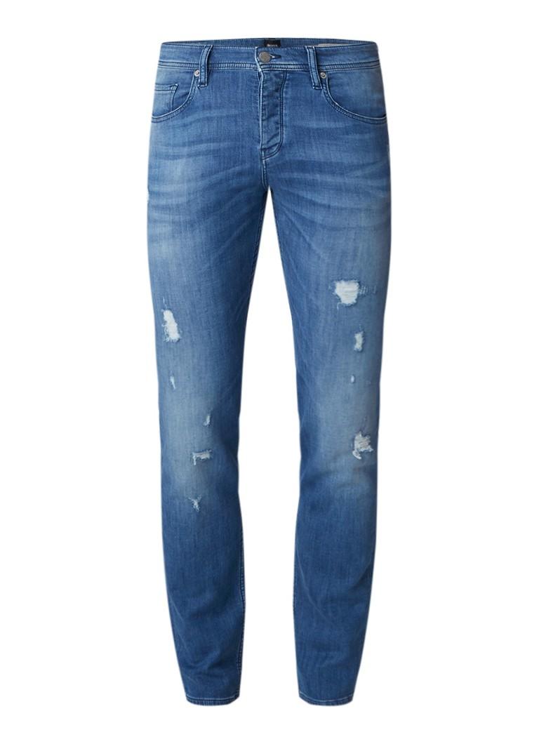 HUGO BOSS Orange 90-P tapered fit jeans met destroyed details
