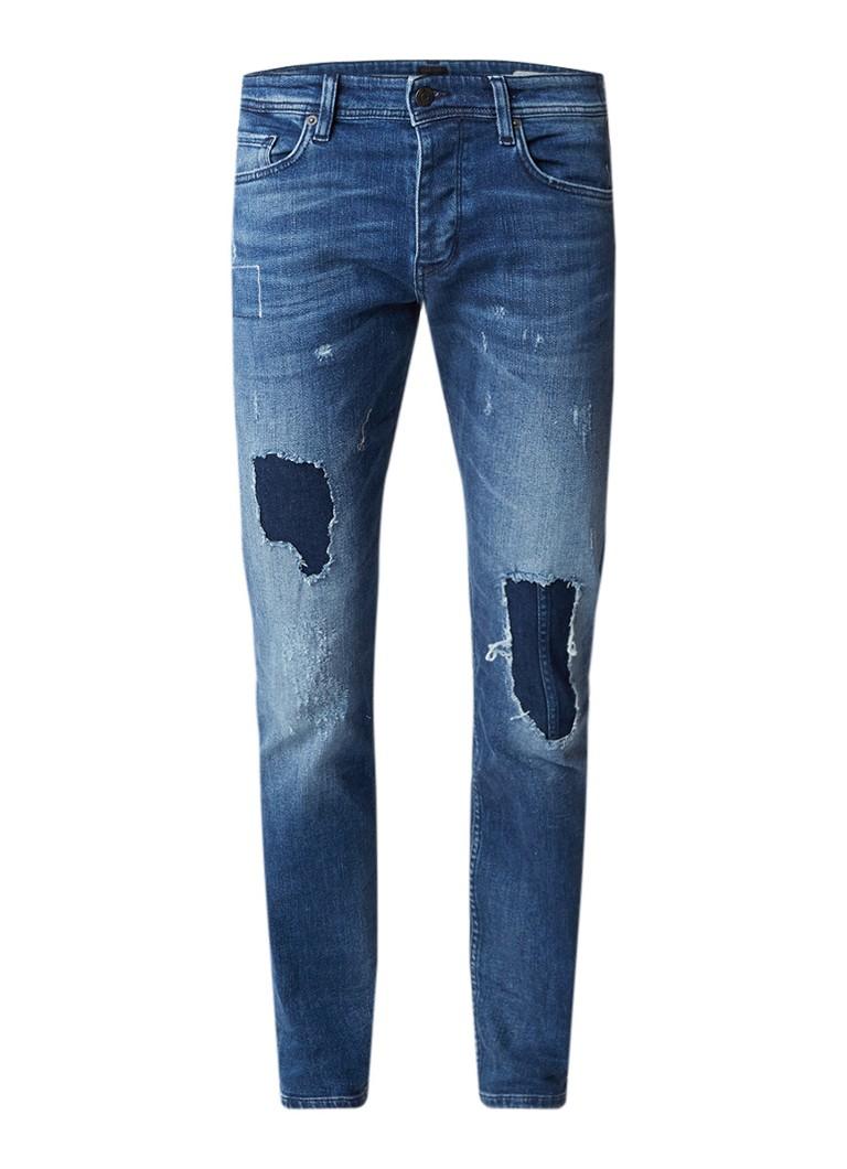 HUGO BOSS Orange90-C tapered fit jeans met destroyed detail