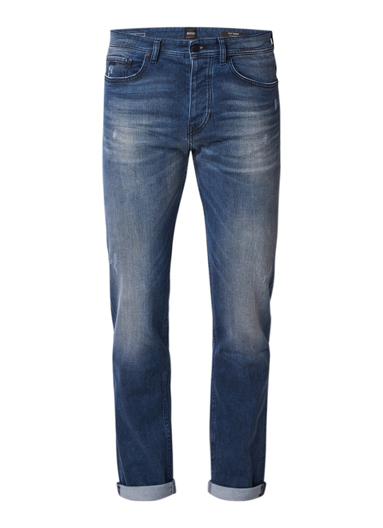 HUGO BOSS Taber tapered fit jeans met destroyed details