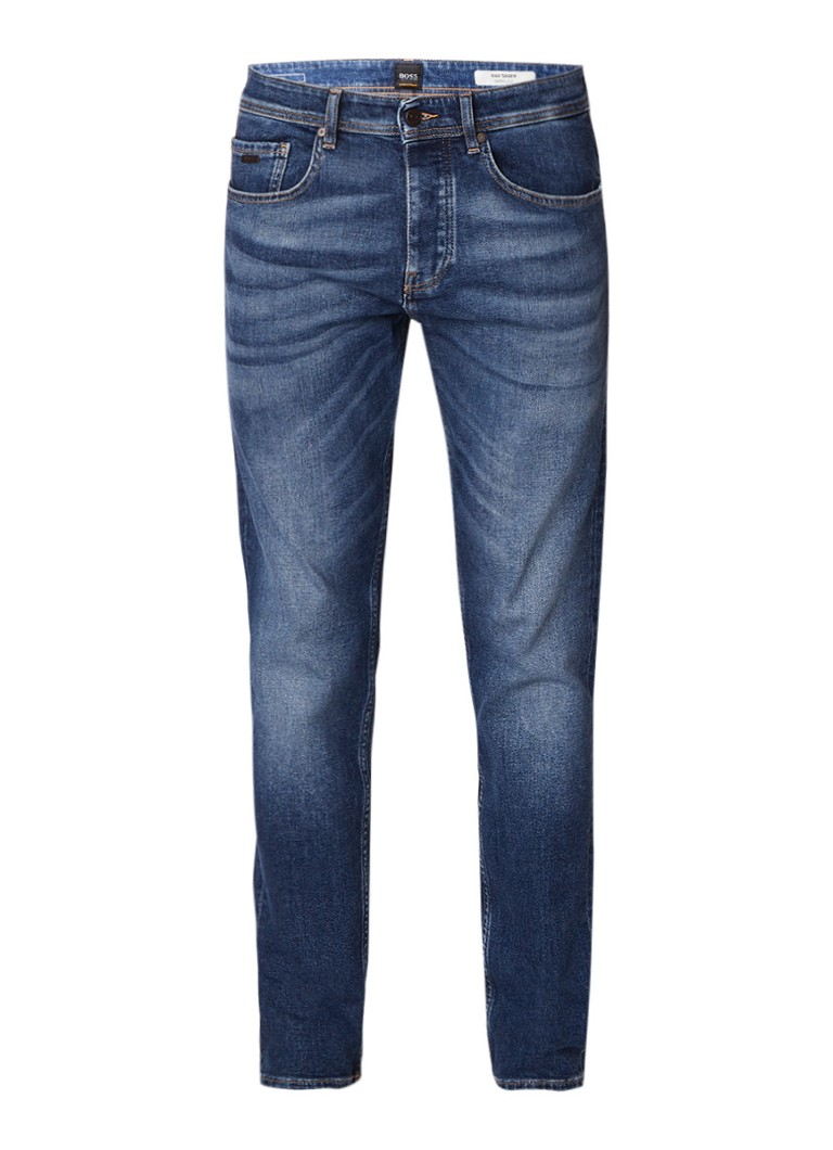 HUGO BOSS Taber mid rise tapered fit jeans met stretch