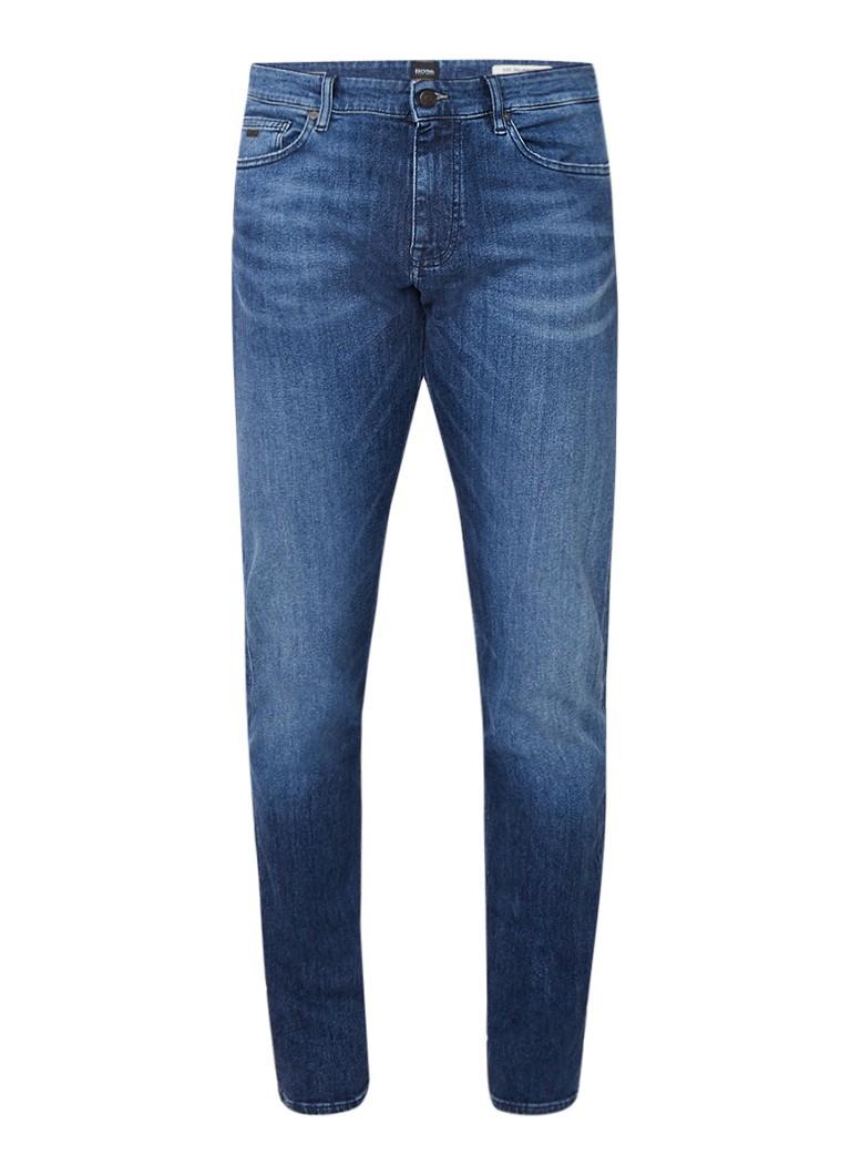 HUGO BOSS Delaware mid rise slim fit jeans met faded look