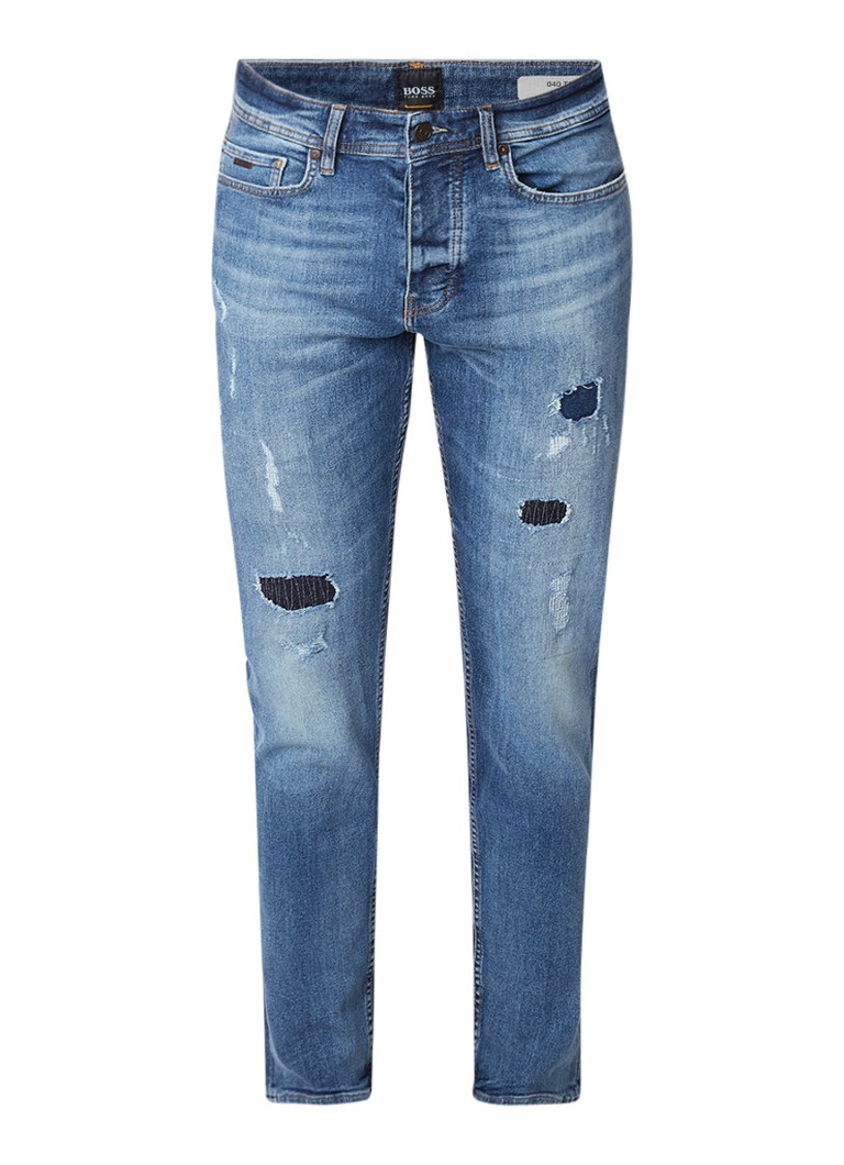 HUGO BOSS Taber BC-C tapered fit jeans met destroyed detail