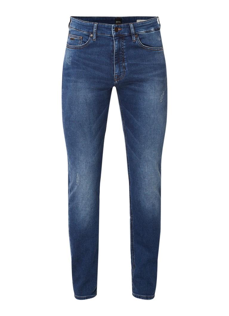 HUGO BOSS Delaware mid rise slim fit jeans met destroyed details