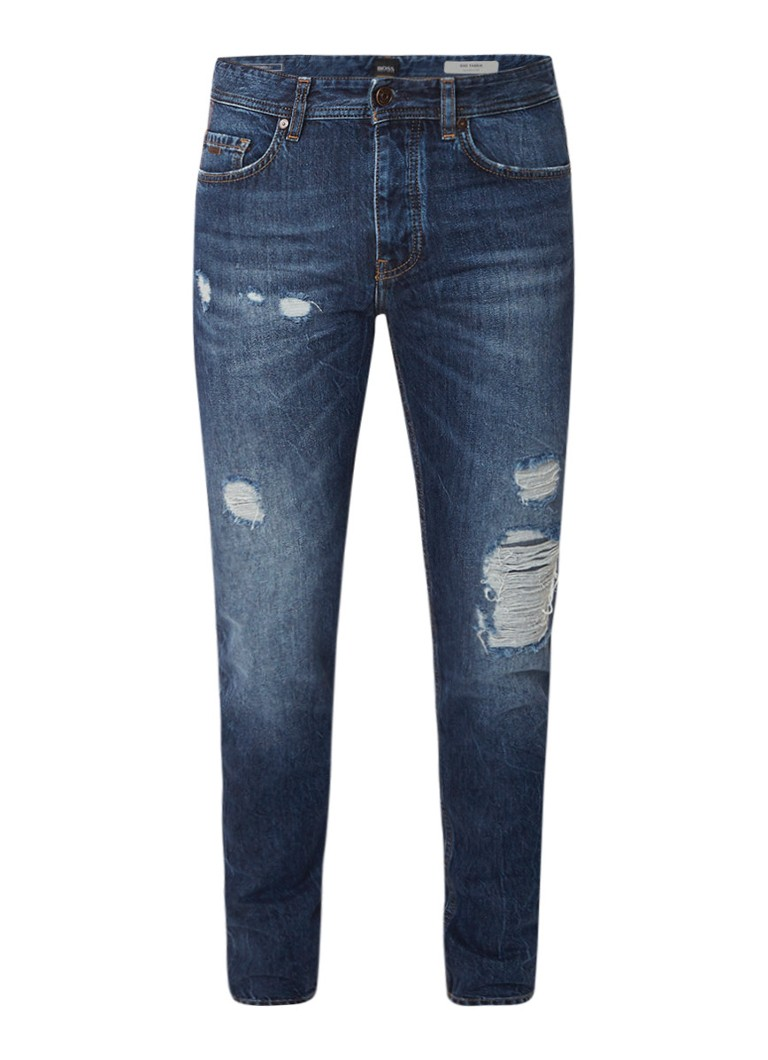 HUGO BOSS Taber mid rise tapered fit jeans met destroyed detail