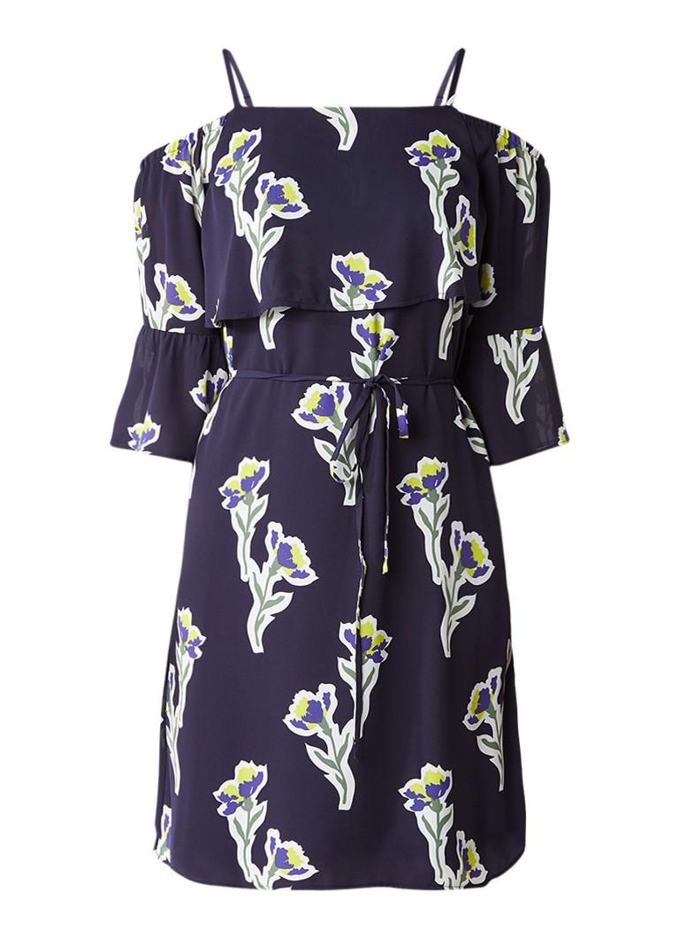 Warehouse Iris cold shoulder jurk met bloemendessin donkerblauw