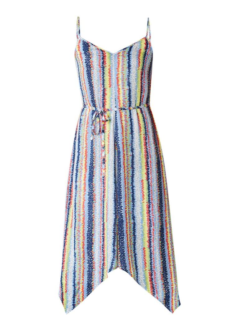 Warehouse Asymmetrische A-lijn jurk met abstract streepdessin multicolor