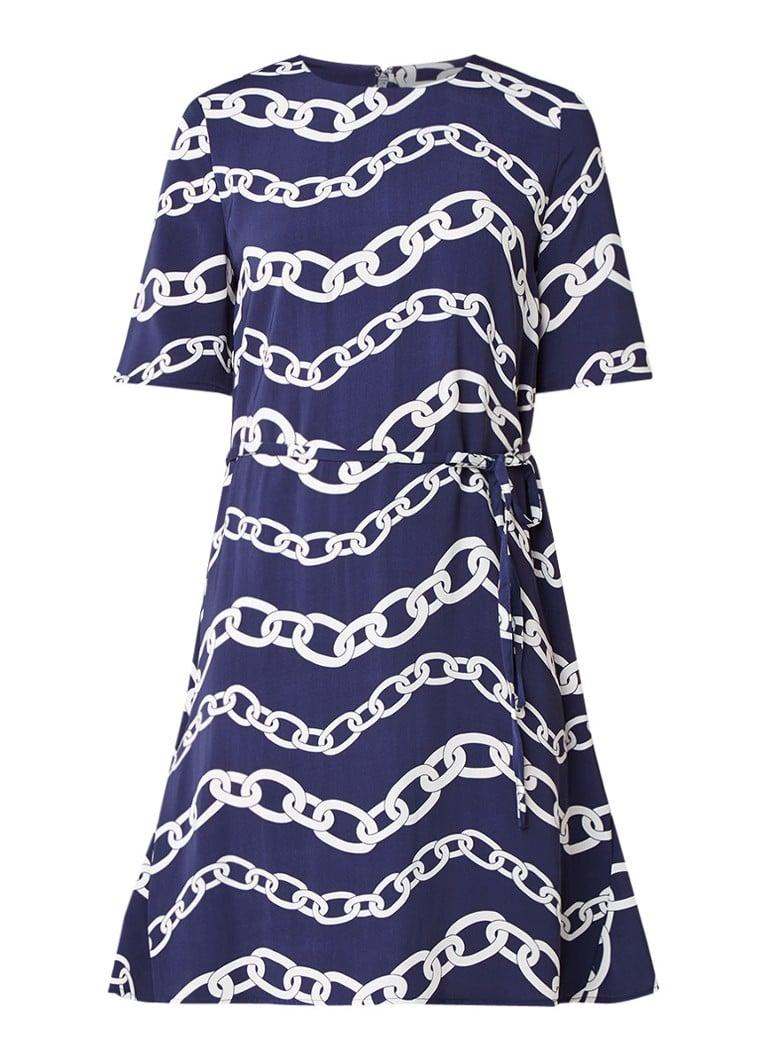 Warehouse A-lijn jurk met ceintuur en schakelprint staalblauw