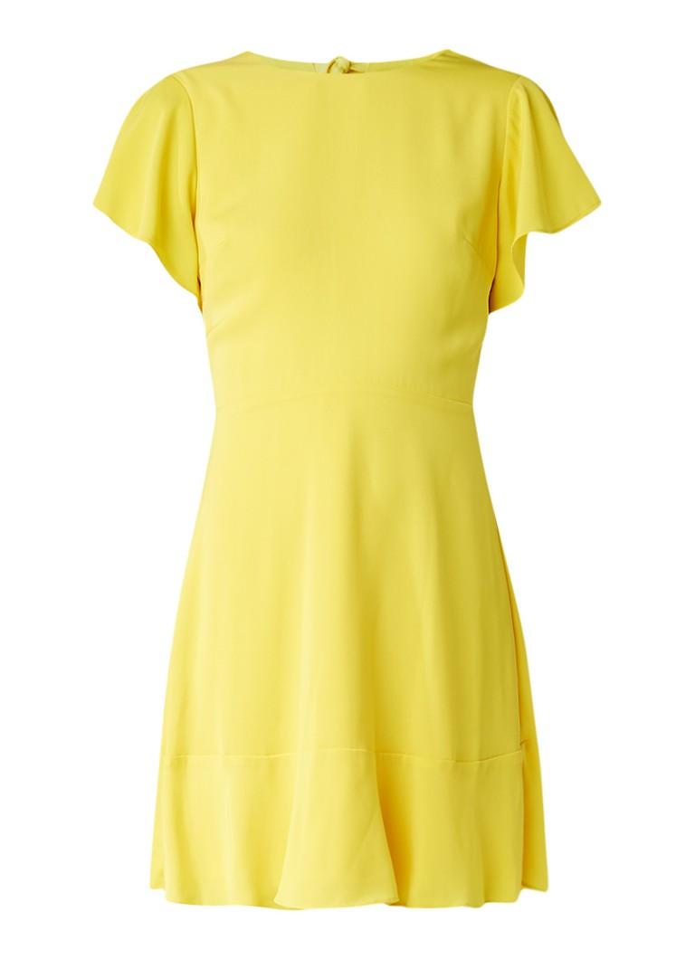 Warehouse A-lijn jurk met volantmouw geel