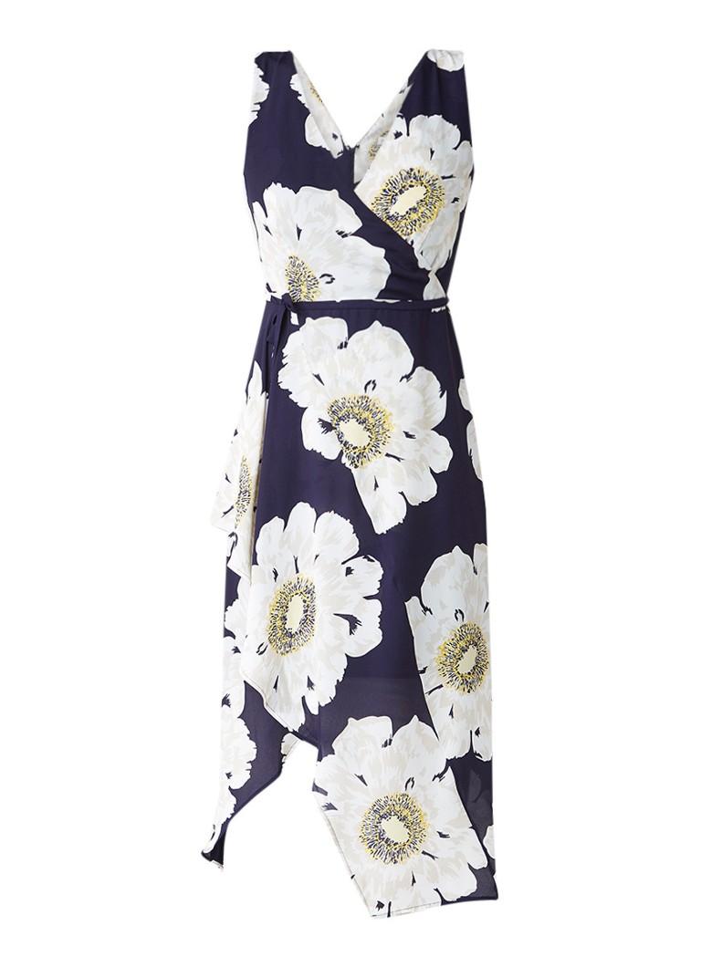 Warehouse Melody midi-jurk met bloemendessin en ceintuur donkerblauw