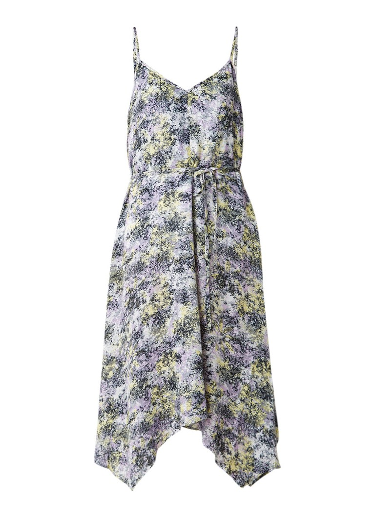 Warehouse Cloud Burst asymmetrische midi-jurk met dessin lila