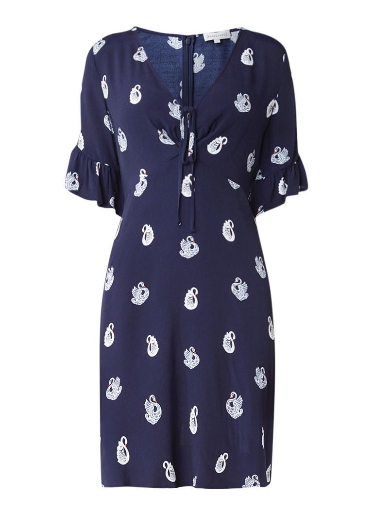 Warehouse Korte jurk met halflange trompetmouw en zwanendessin donkerblauw