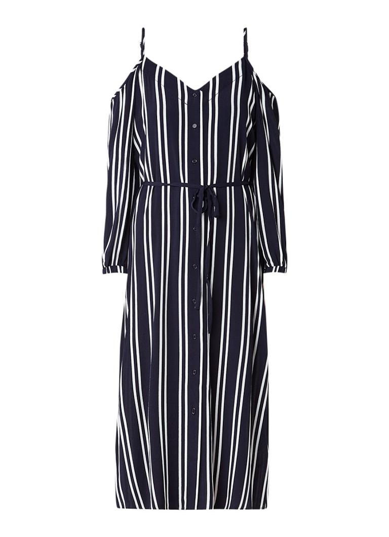 Warehouse Cold shoulder midi-jurk met streepdessin donkerblauw