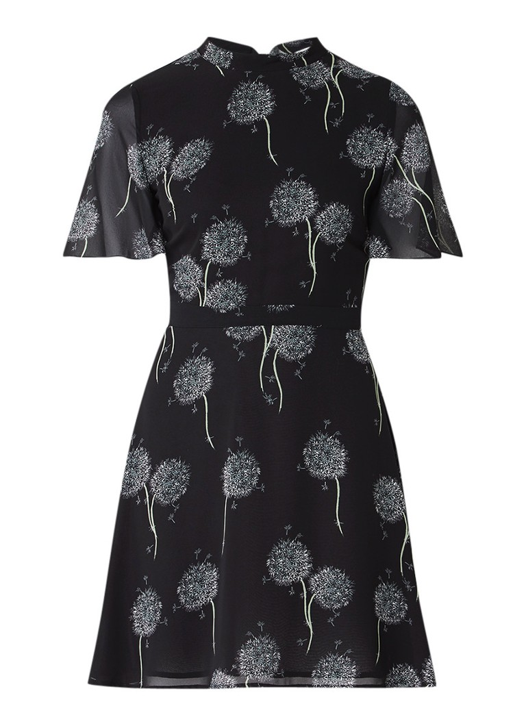 Warehouse Semi-transparante A-lijn jurk met bloemdessin zwart