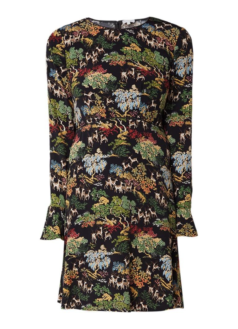 Warehouse A-lijn jurk met botanisch dessin zwart