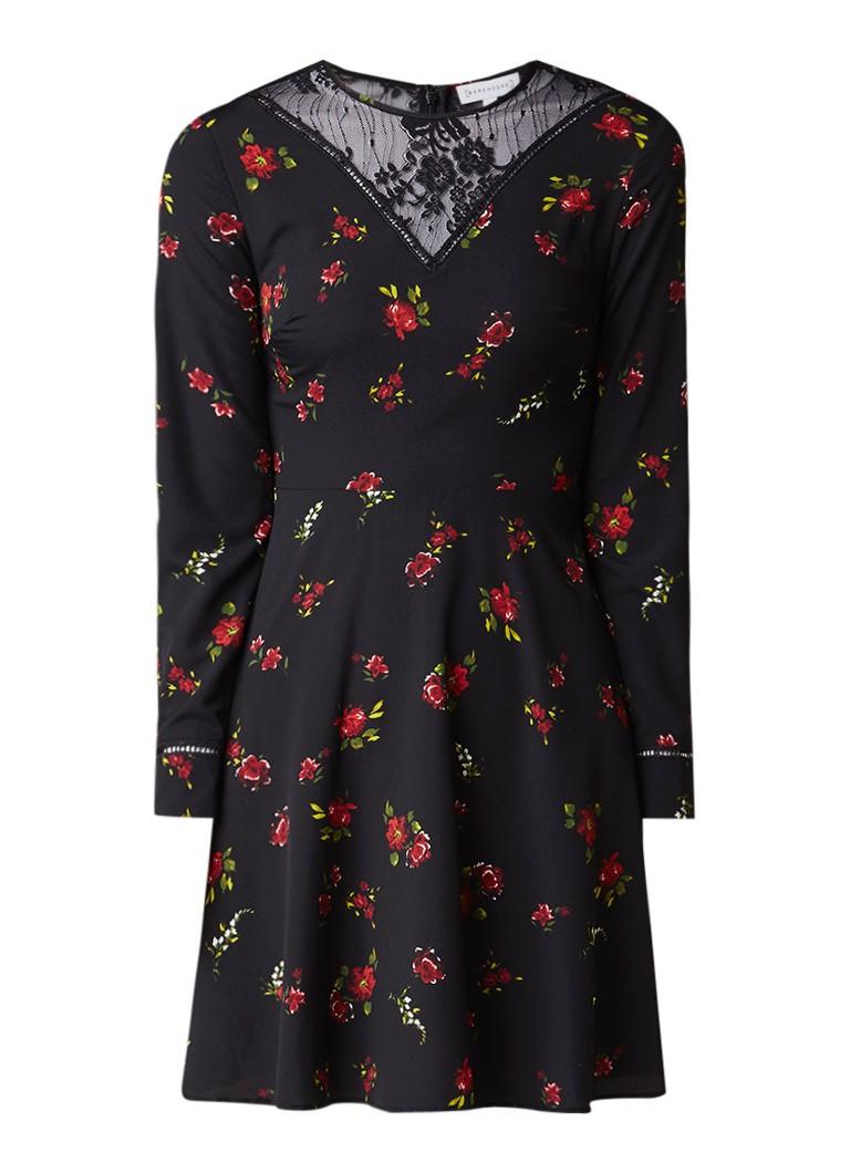 Warehouse A-lijn jurk met inzet van kant en bloemendessin zwart