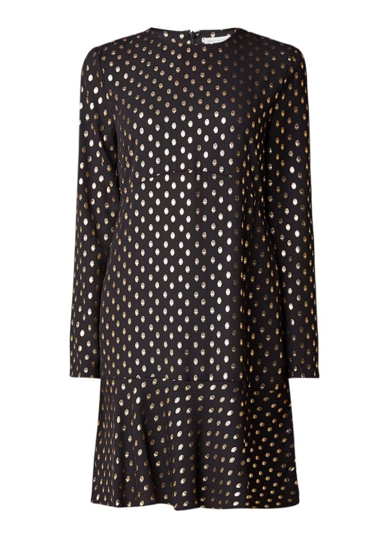 Warehouse Losvallende jurk met glanzend stippendessin zwart