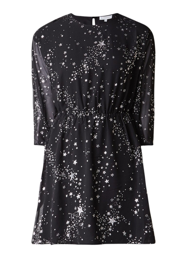 Warehouse A-lijn jurk met sterrenprint zwart